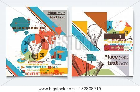 Business report brochure flyer design template vector cover presentation abstract style with diagrams and web elements