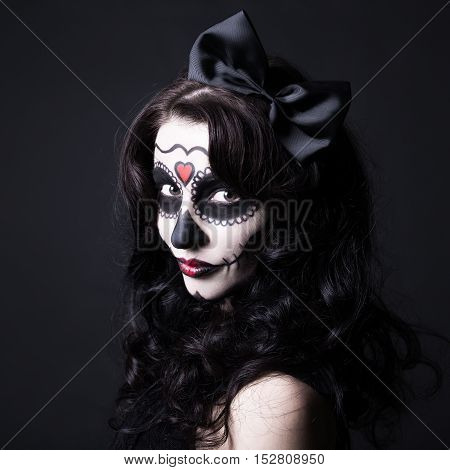 Creative Halloween Make Up - Witch Or Monster Woman Over Black
