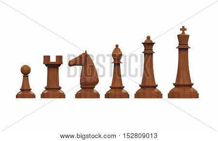 Wooden Chess Pieces isolated on white background. 3D render