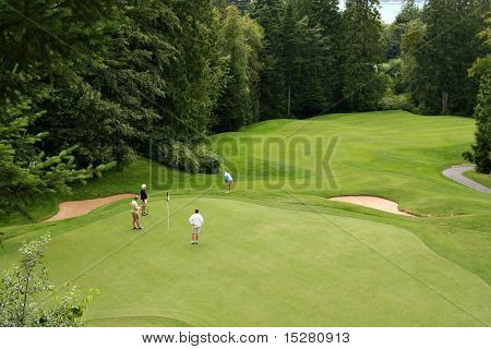 Bird's eye view of golfers on a beautiful putting green.