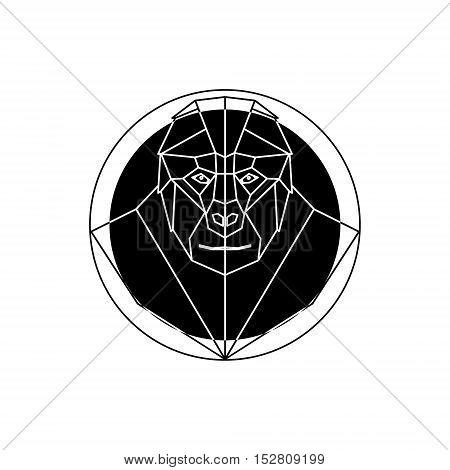 Head gorilla in geometry style. Vector design element.