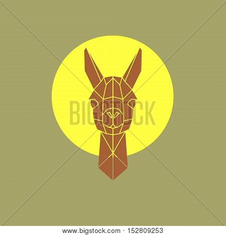 Vector illustration of head lama in geometry style.