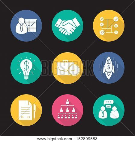 Business flat design long shadow icons set. Teamwork, company hierarchy, presentation with graph, signed contract, handshake, problem solutions, successful idea, goal achievement. Vector symbols