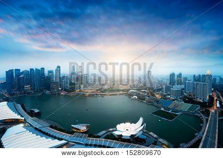 Singapore`s business district Singapore city Skyline Singapore