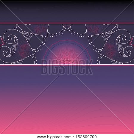 Vector background with gradient. Beautiful lace pattern is a broad ribbon. Dark color. Space for your inscription.