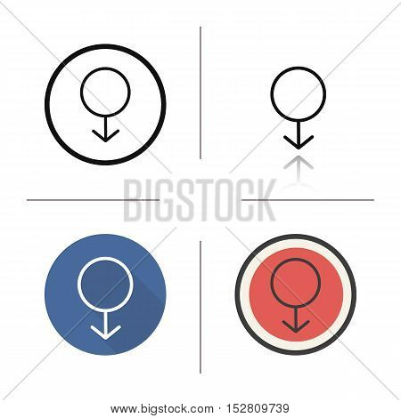 Male gender icon. Flat design, linear and color styles. Mars symbol . Gentlemen WC door sign. Isolated vector illustrations