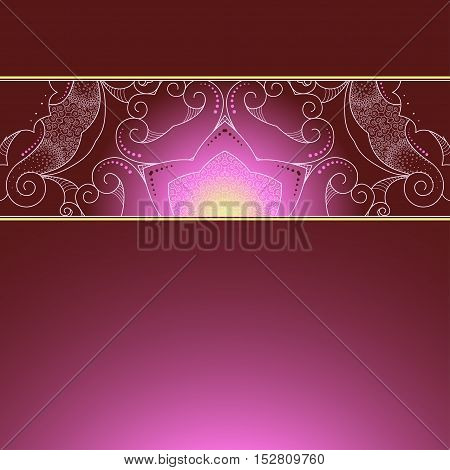 Abstract background with gradient. Beautiful lace pattern on the border. Space for your inscription.