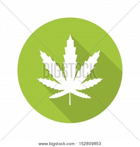Marijuana leaf flat design long shadow icon. Cannabis weed. Vector silhouette symbol