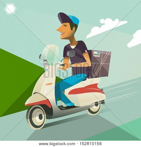 Boy ride a scooter.Vector modern creative flat design illustration