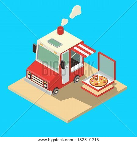 Food Truck. Delivery Master. Street Food Chef Web Template. Flat Icon Set Isometric Food Truck.