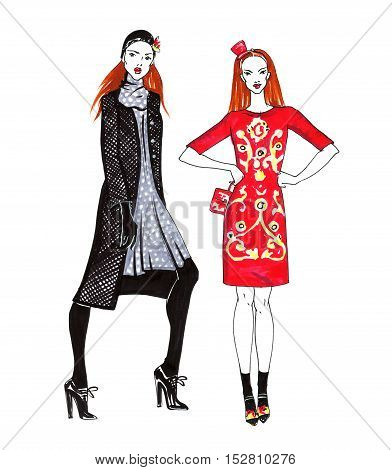Fashion Sketch of Two Beautiful Women. Hand Drawn Modern Stylish Girl Concept in Red and Black Colors.