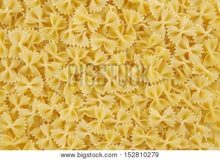 Close up of bow tie pasta background