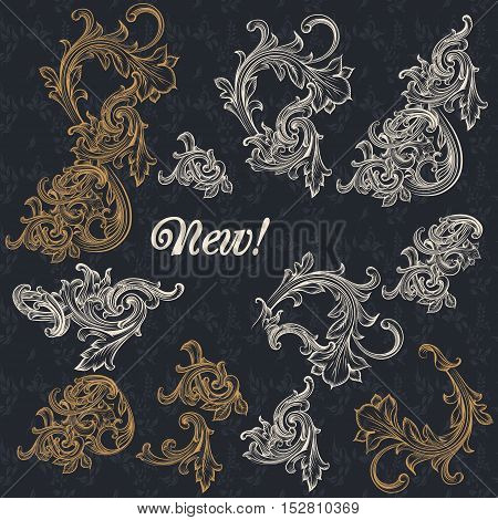 Collection of vector decorative ornaments in antique style