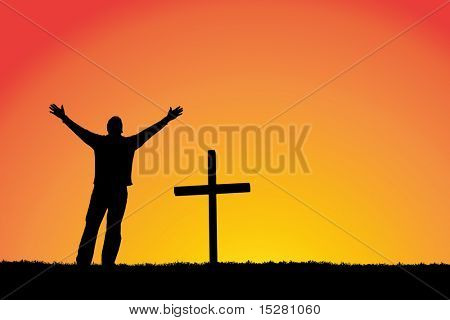 Silhouette of a man in front of a cross.