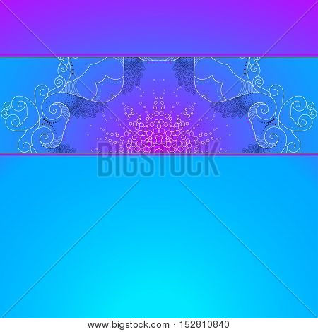 Vector card with gradient background. Beautiful lace pattern is a broad ribbon. Space for your inscription.