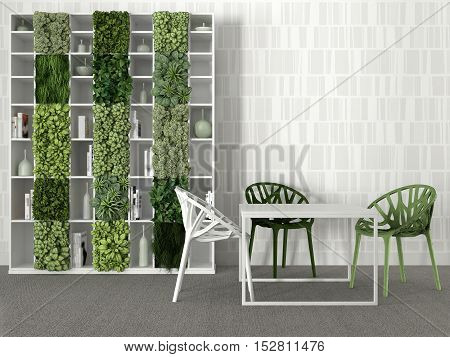 Interior scene, green & White, with table and bookshelf