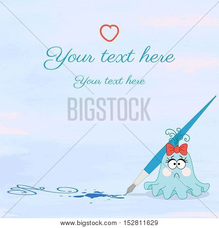 Vector illustration. Monster girl with pen on watercolor background. Blots of paint. Easily edit the colors. Place for your text