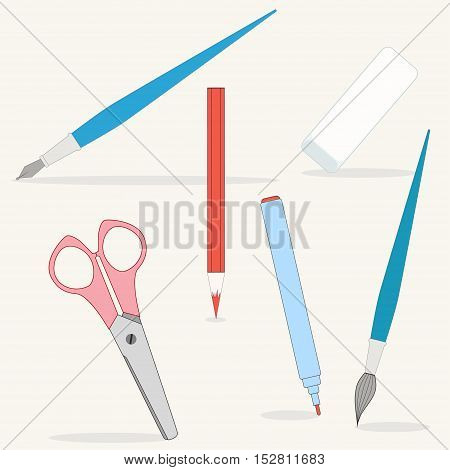 Set of school supplies. Drawing tools. Colored pencil pen felt tip pen brush eraser scissors. Easy to change colors. Isolated objects.