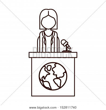 avatar woman on tribune for speech with earth planet icon. vector illustration