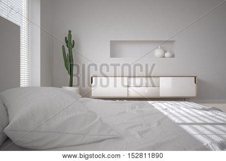 White minimalistic bedroom, scandinavian style, 3d illustration