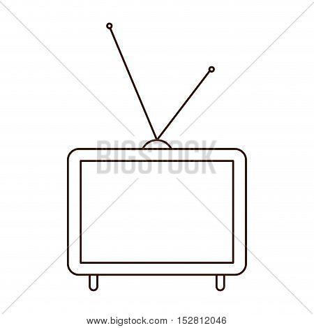 retro television device with antenna icon. vector illustration