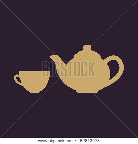 The teapot and cup icon. Tea symbol. Flat Vector illustration