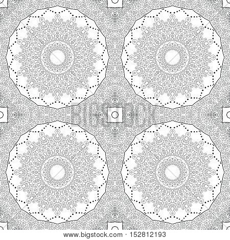 Abstract seamless background. Filigree vector design. Black and white.