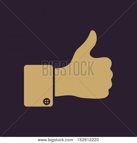 The thumb up icon. Like symbol. Flat Vector illustration. Button Set