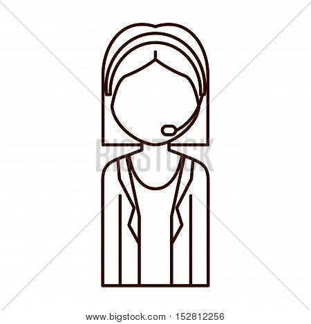 avatar woman with headphone equipment. support and customer service design. vector illustration