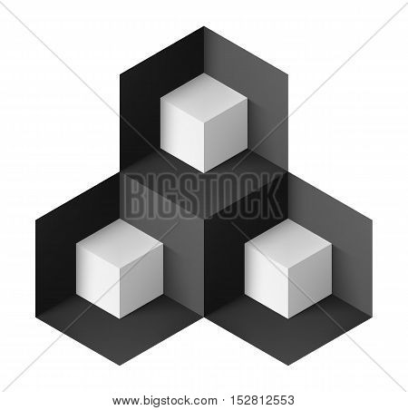 Abstract geometric object with white cubes for design