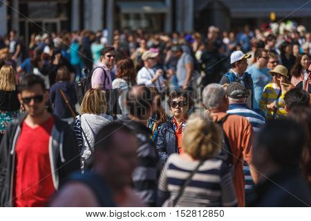Venice Italy - May 05 2016: A crowd of tourists at the Piazza San Marco in Venice spring time
