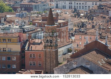 VENICE ITALY - May 5 2016: View of the city of Venice from a sightseeing tower of St Mark's Campanile
