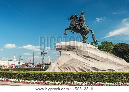 Monument of Russian emperor Peter the Great, known as The Bronze Horseman, Saint Petersburg , Russia