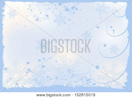 christmas or new year or winter theme with textured background spiral and snowflakes on light blue background vector holiday greeting card
