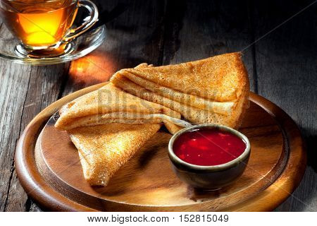 view of nice fresh hot crepes on color background