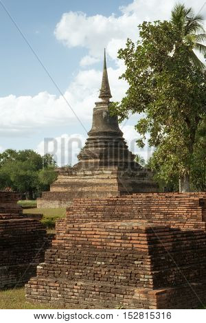 panorama view of ancient  pagoda  in Ayutthaya historical park, Thailand