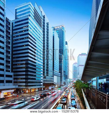 Night view of Hong Kong's financial district