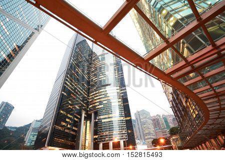 Hongkong Of Road Light Trails On Streetscape Buildings