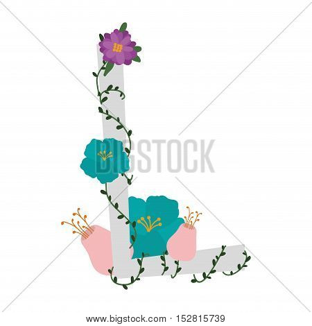 letter L with branch and flowers decoration. colorful design. vector illustration