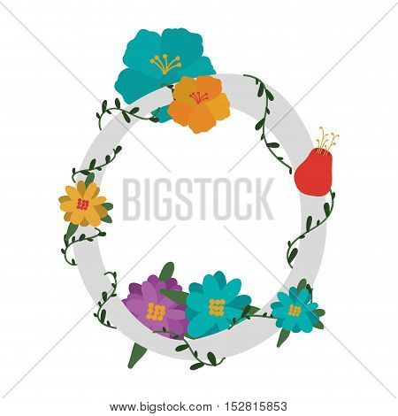 letter O with branch and flowers decoration. colorful design. vector illustration