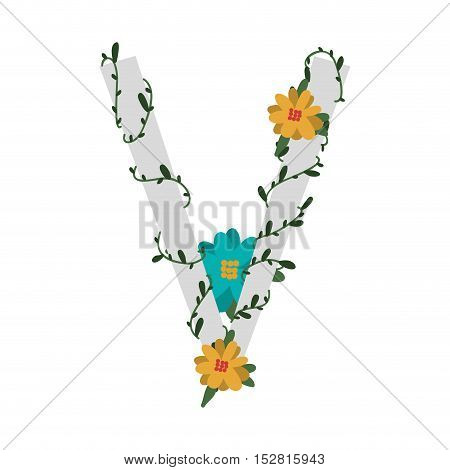 letter V with branch and flowers decoration. colorful design. vector illustration