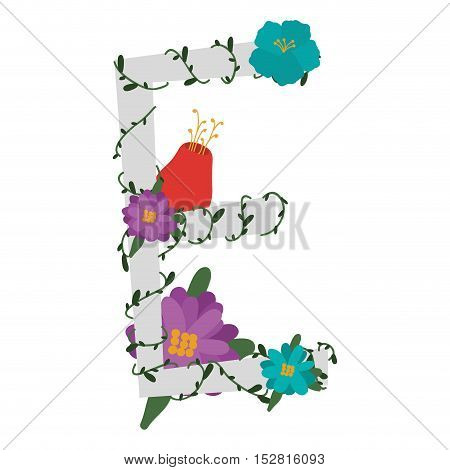 letter E with branch and flowers decoration. colorful design. vector illustration