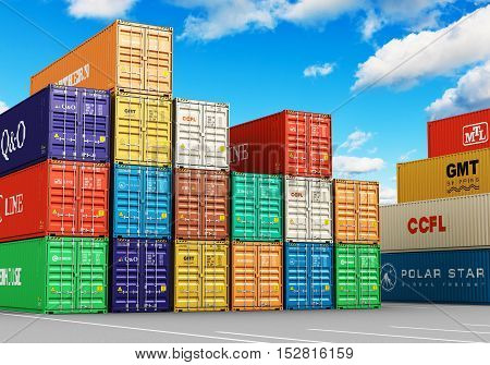 Creative abstract cargo freight transportation shipping logistics delivery and distribution commercial business concept: 3D render illustration of the group of stacked 40 ft color metal heavy containers in sea port terminal