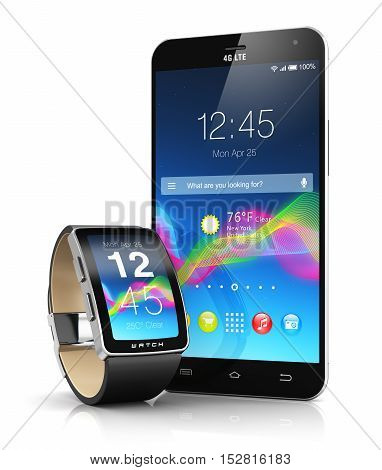 Creative mobile connectivity and business mobility wireless communication concept: 3D render illustration of smart watch or clock and touchscreen smartphone with color interface with colorful icons and buttons isolated on white background with reflection