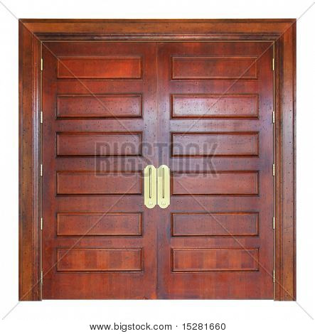 Large solid wooden double doors, entry to a convention room.