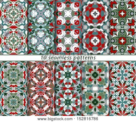 Set of seamless patterns in the classical style for the Christmas or festive wrapping paper. Ornaments with oriental motifs. Suitable for textiles, scrapbooking or your design. Vector illustration.