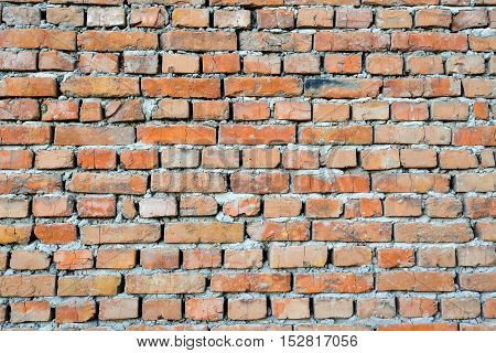Background of old vintage brick wall. Red brick wall texture grunge background perfect for design purposes.