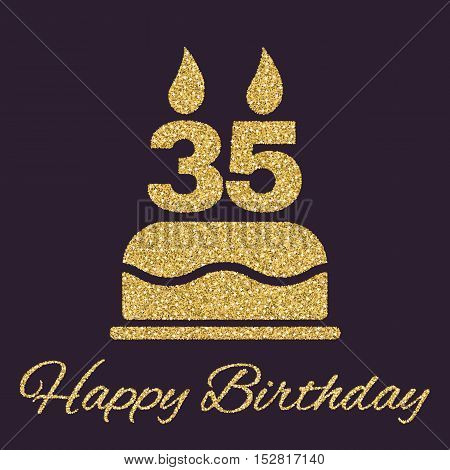 The birthday cake with candles in the form of number 35 icon. Birthday symbol. Gold sparkles and glitter Vector illustration