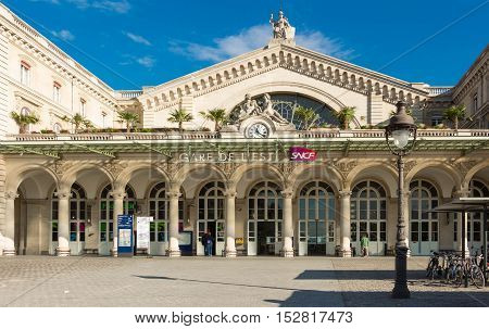 Paris France-September 22 2016 : The Gare de l'Est is one of the largest and the oldest railway stations in Paris. It is one of the six large SNCF termini in Paris.