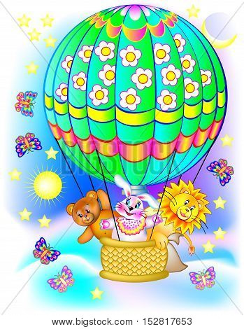 Illustration of toys traveling by balloon. Vector cartoon image.